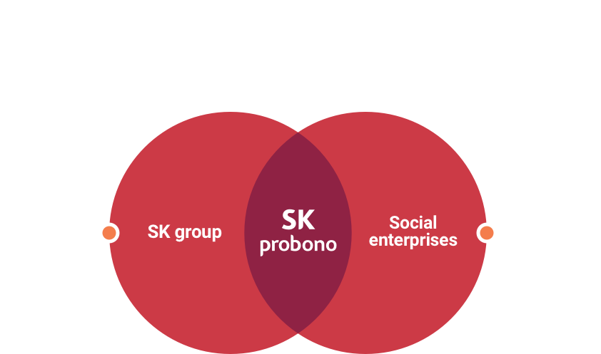 Social enterprises. Shared growth of social enterprises & SK Probono. Supporting unconditionally to nurture talented individuals. Supporting developments of social enterprises and social economy